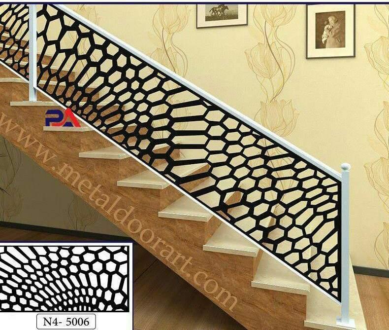 نرده ی فلزی راه پله با طرح لیزری کد ۳۸۶