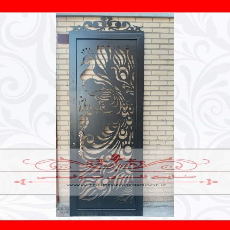 درب فلزی نفر رو طرح طاووس کد ۸۶۲